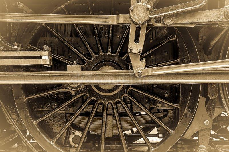 蒸汽火车轮子连接杆 免版税图库摄影