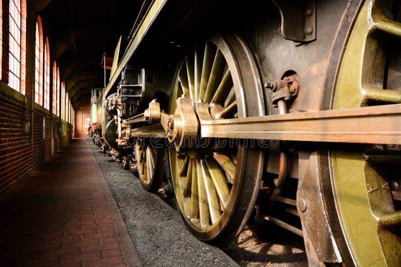 蒸汽火车轮子 免版税库存图片