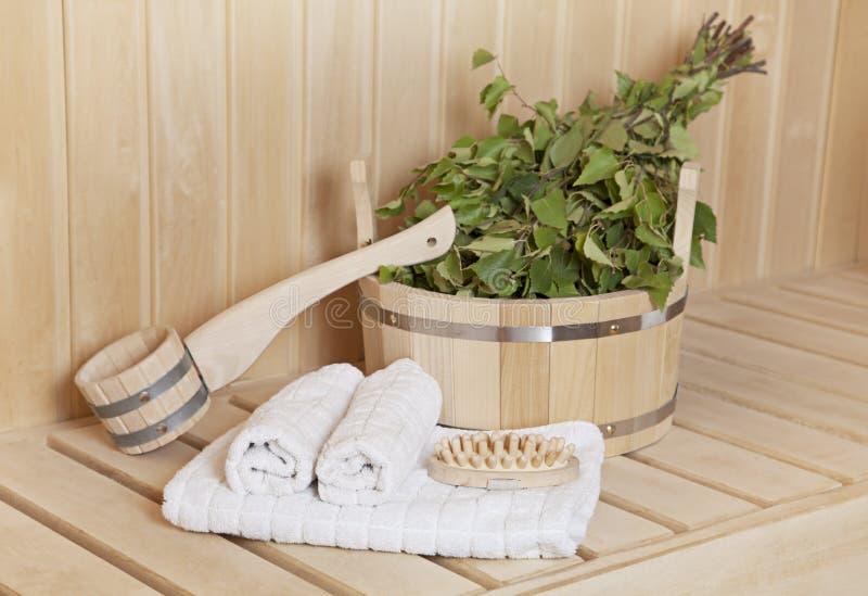 蒸汽浴室材料 库存图片