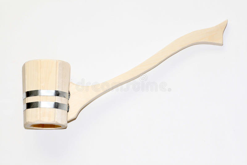 蒸汽浴的木杓子在白色背景 库存图片