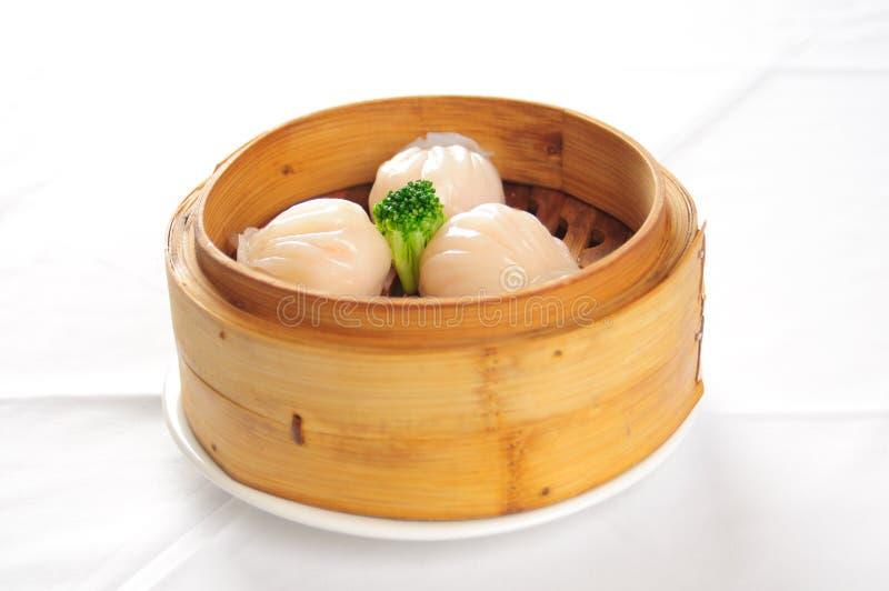 蒸的小圆面包中国肉 库存照片