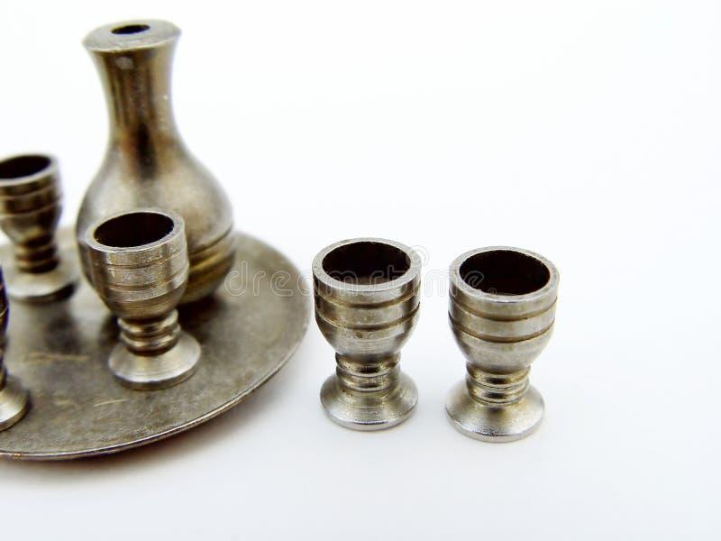 蒸馏瓶觚金属集 免版税库存图片