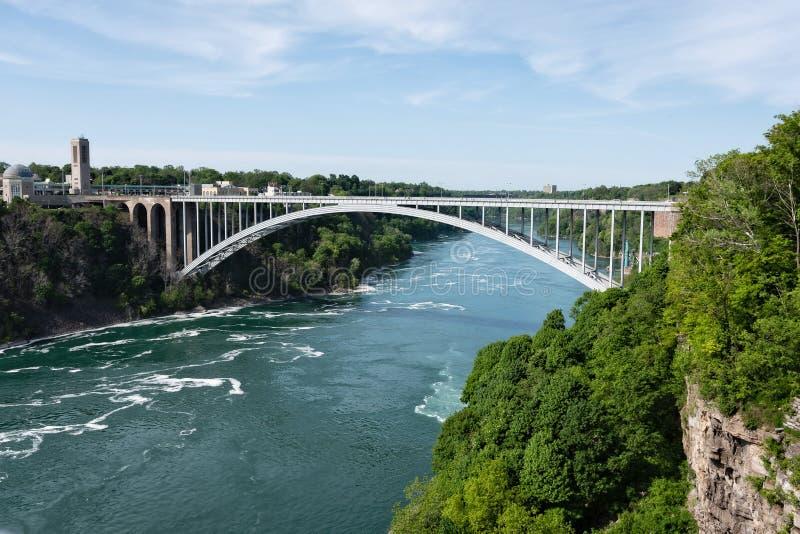 蓝天、尼亚加拉大瀑布、美国和加拿大边境的彩虹桥 免版税图库摄影