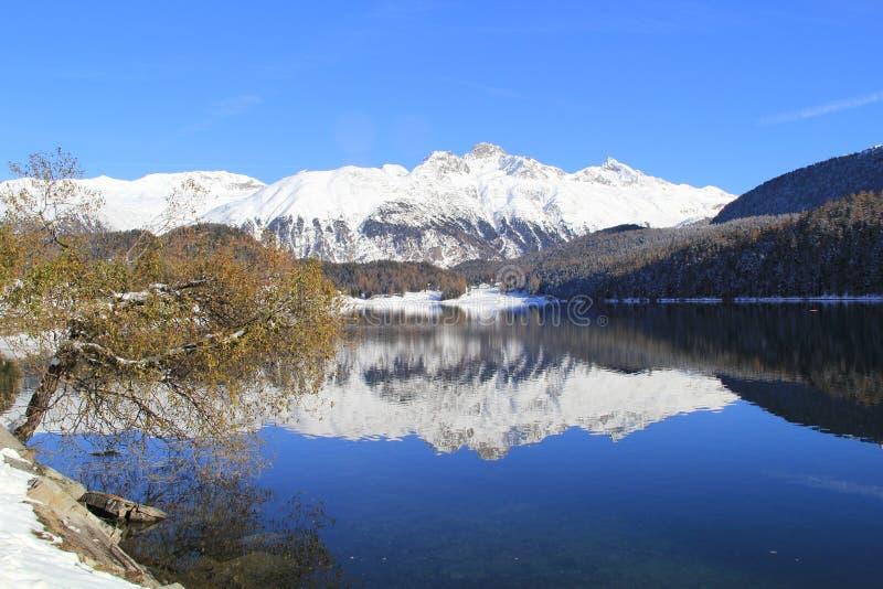 蓝天、白色山、湖和树 免版税库存图片