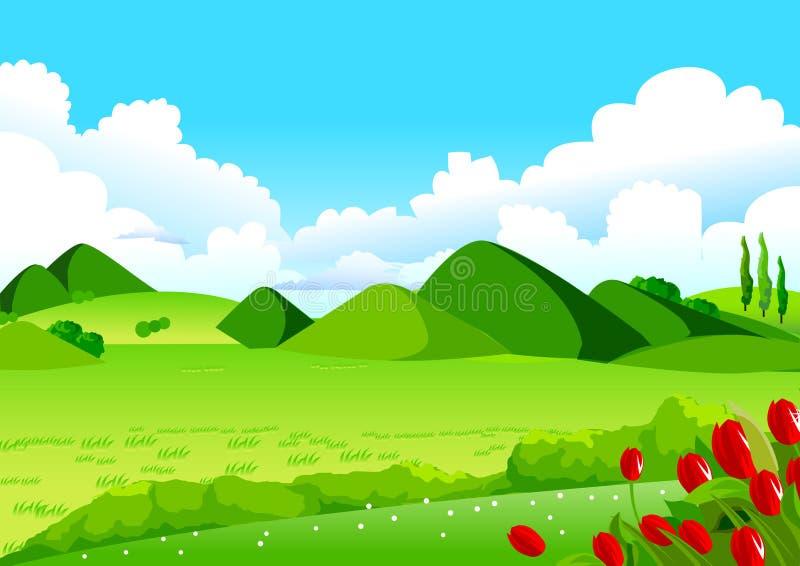 蓝天、绿色领域和遥远的小山 库存例证