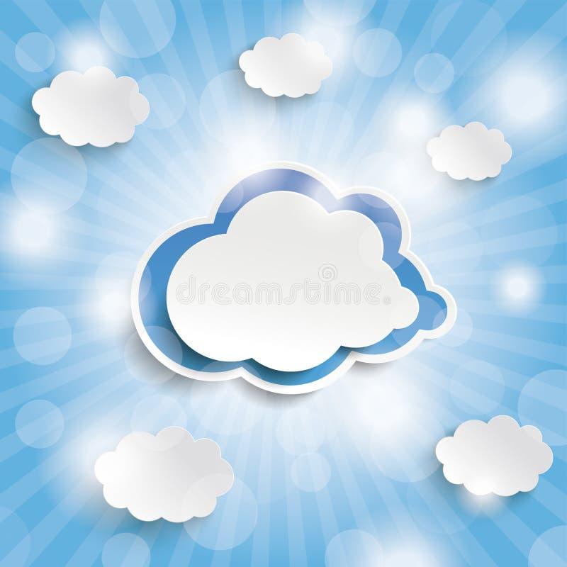 蓝天发出光线蓝色云彩 库存例证