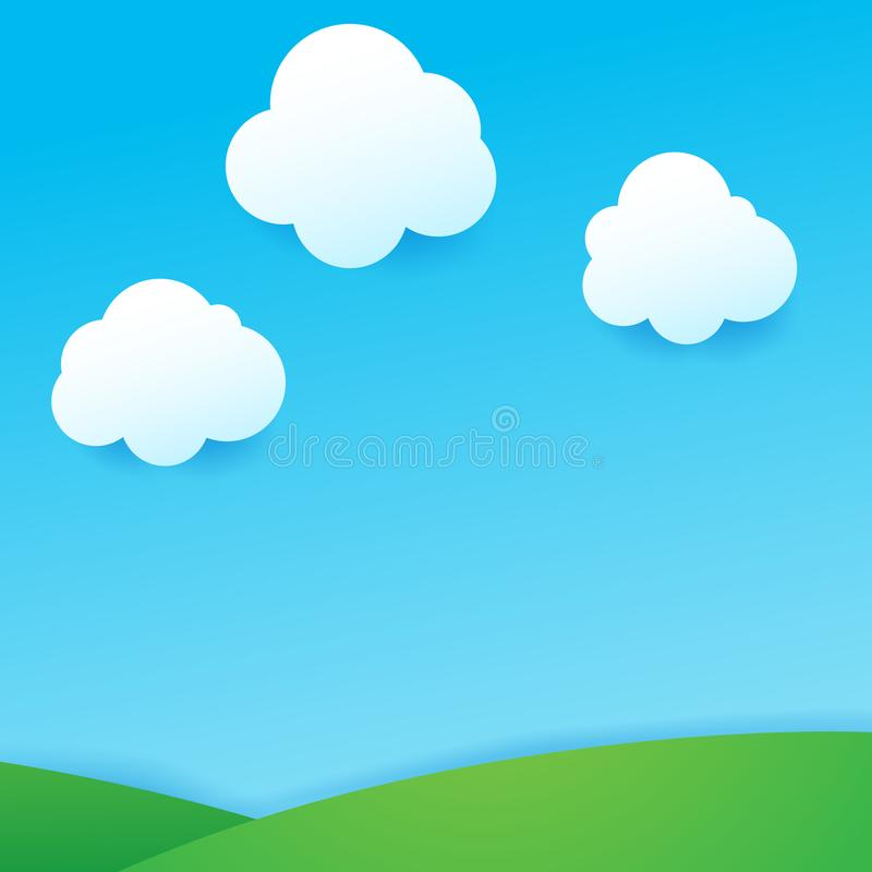 蓝天和云彩与下落遮蔽自然本底ge 向量例证