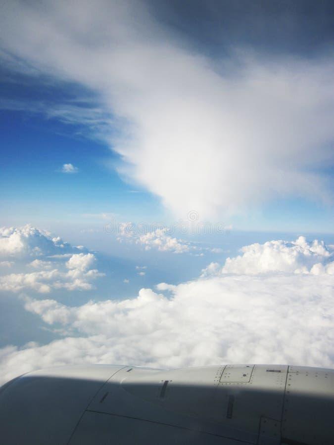 蓝天和云彩从飞机 库存照片