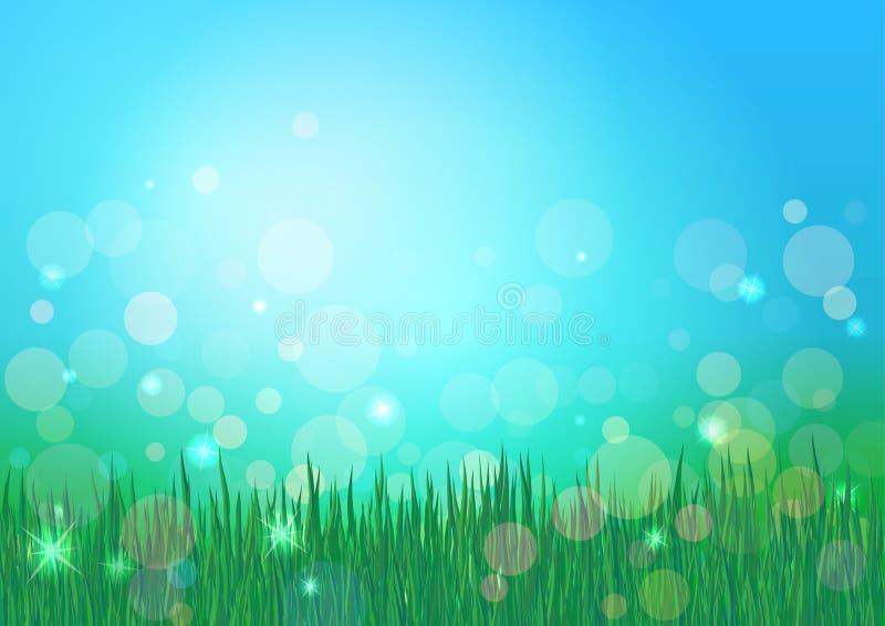 蓝天和绿草自然背景 Bokeh传染媒介背景 迷离和发光的作用 皇族释放例证