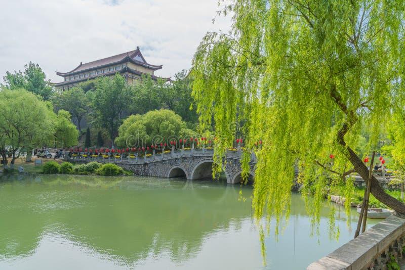 蓝天白云下青州市园林湖泊景观 免版税图库摄影