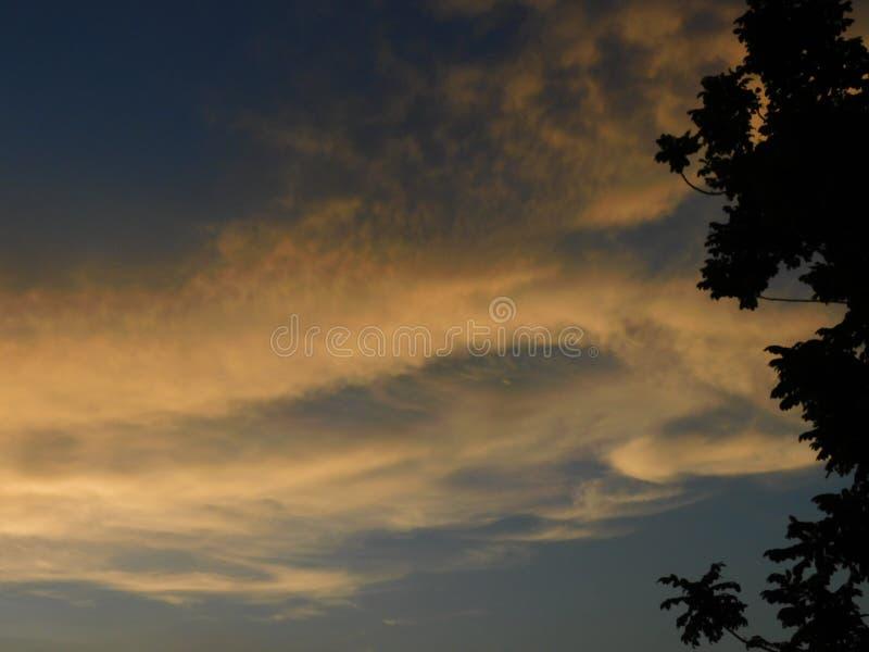 蓝天的一张美丽的照片与白色云彩的在与树的背景中 库存照片