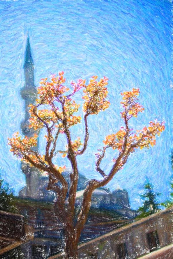 蓝天背景的尖塔 免版税库存图片