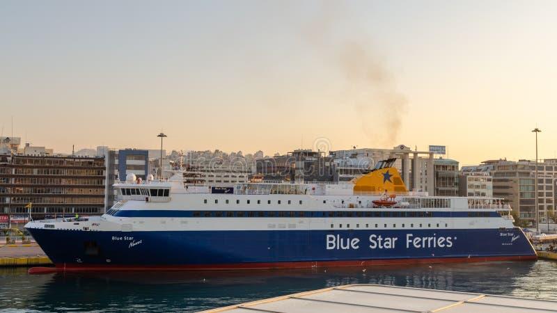 蓝星渡轮码头停靠希腊比雷埃夫斯港 库存图片