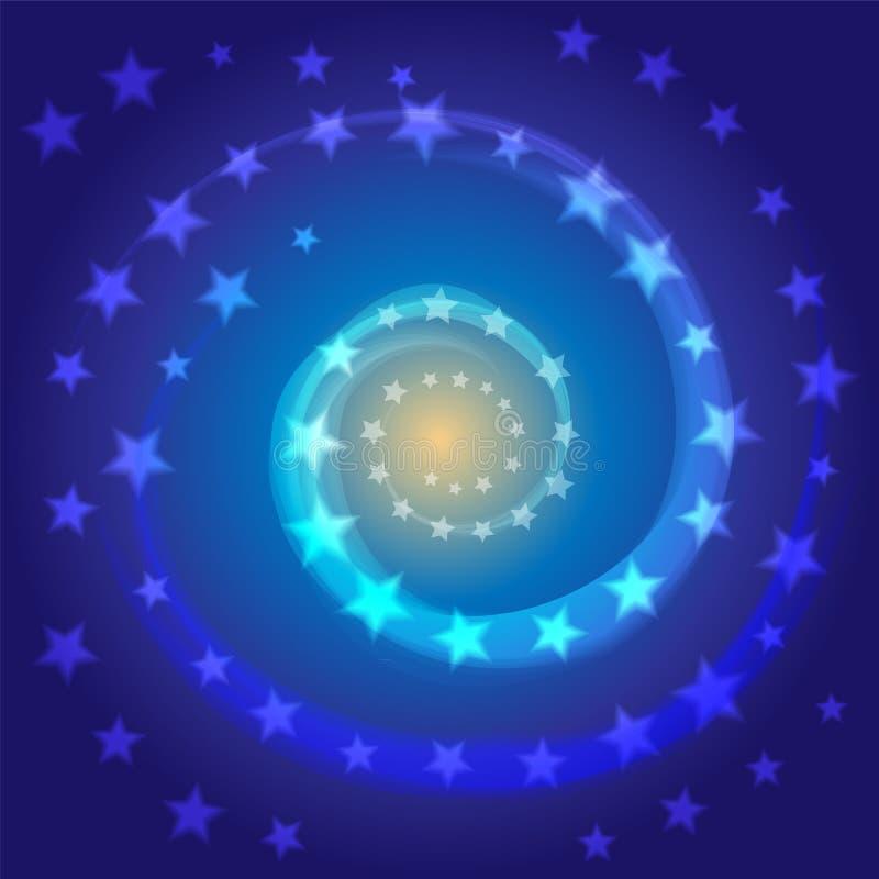 蓝星螺旋 空间背景 宇宙,星系 适用于纺织品,织品,包装和网络设计 向量例证