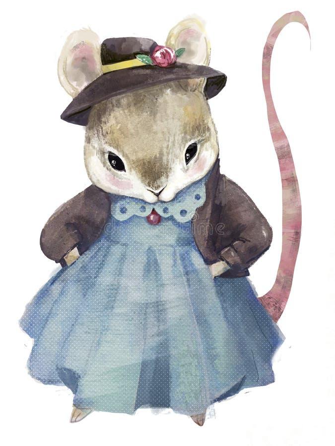 蓝毛衣可爱的小老鼠 免版税库存图片