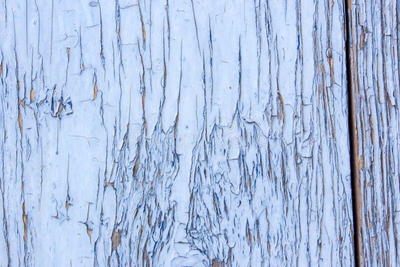 蓝灰色油漆呈杂色的木门 免版税库存照片