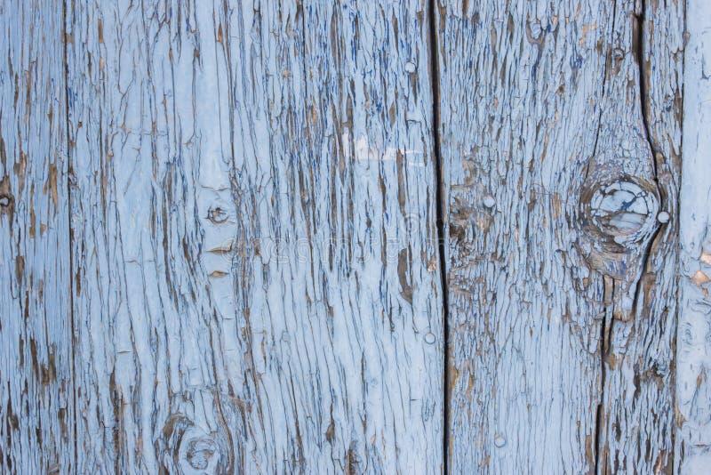 蓝灰色油漆呈杂色的木门 免版税图库摄影