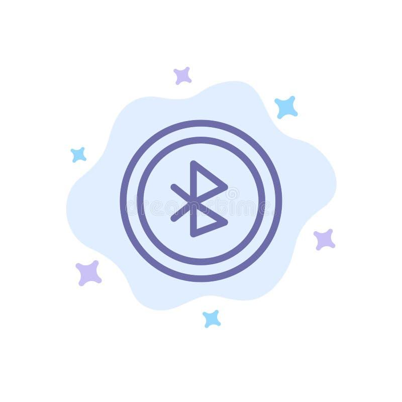 蓝牙,Ui,在抽象云彩背景的用户界面蓝色象 库存例证