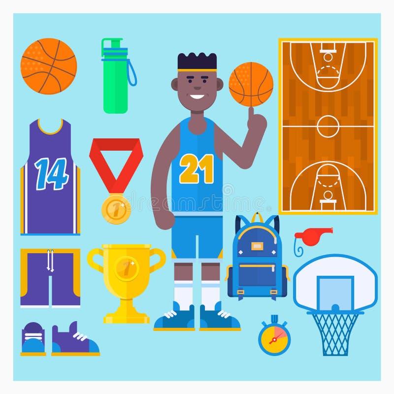 蓝球运动员和篮球象集合 简单的篮球传染媒介元素 也corel凹道例证向量 免版税库存图片