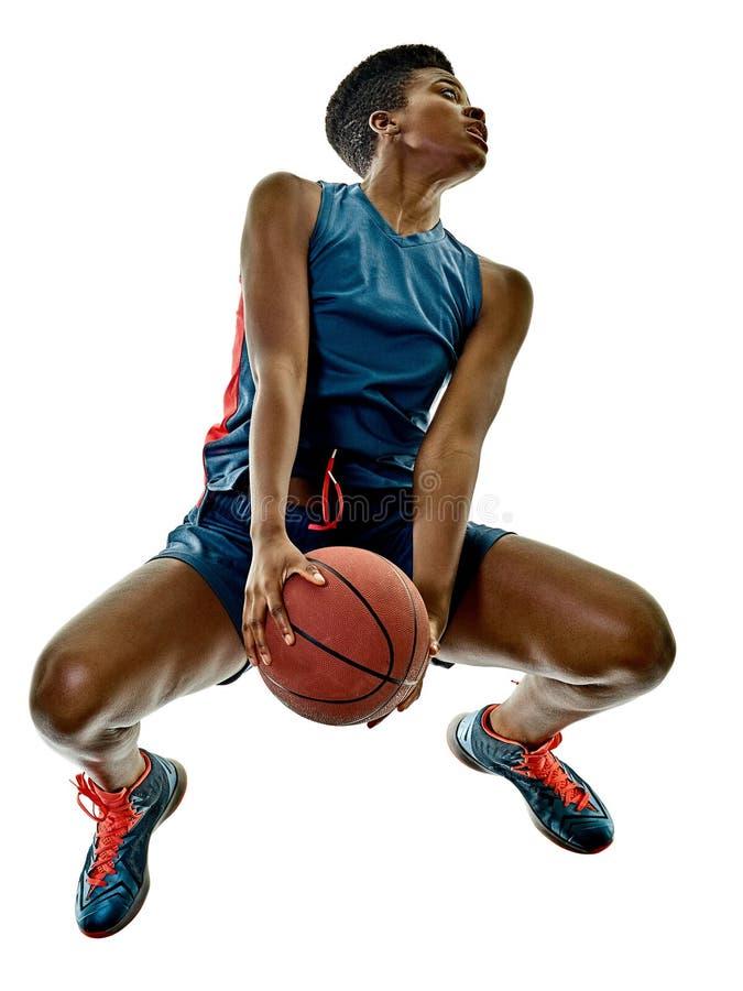 蓝球运动员妇女少年女孩被隔绝的阴影 图库摄影