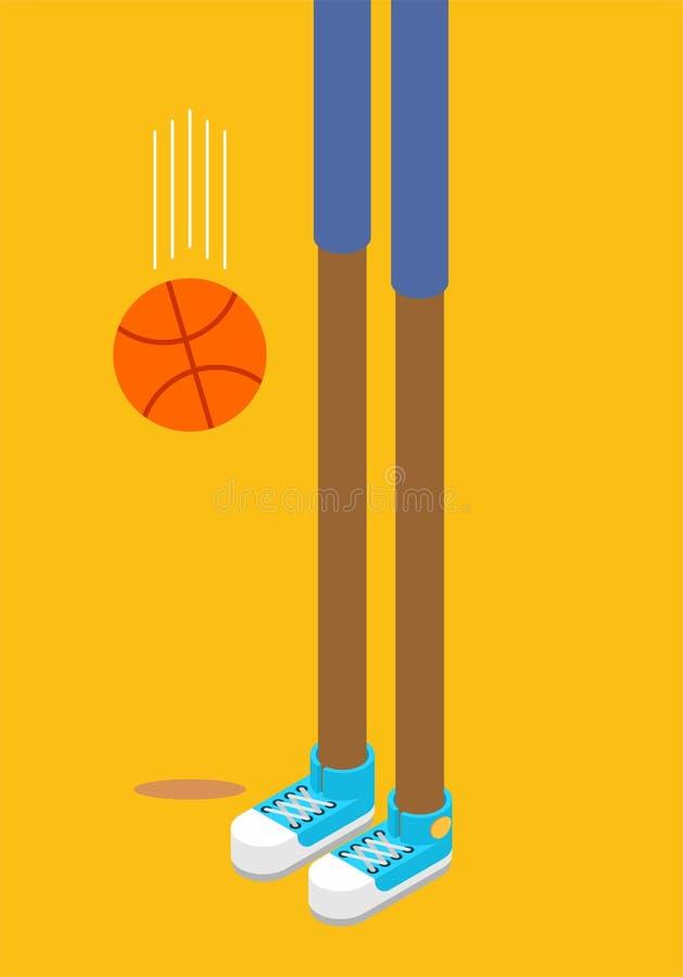 蓝球运动员的长的腿 运动鞋和篮球 Isometr 向量例证