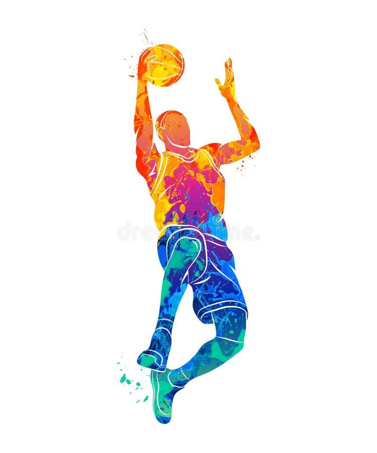 蓝球运动员,球 向量例证