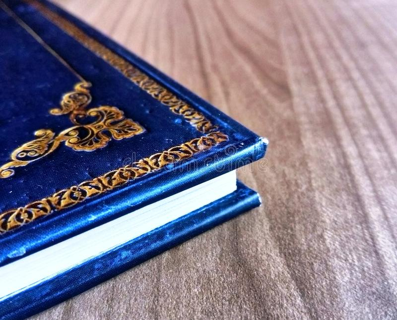 蓝皮书被刻记的细节 免版税库存照片