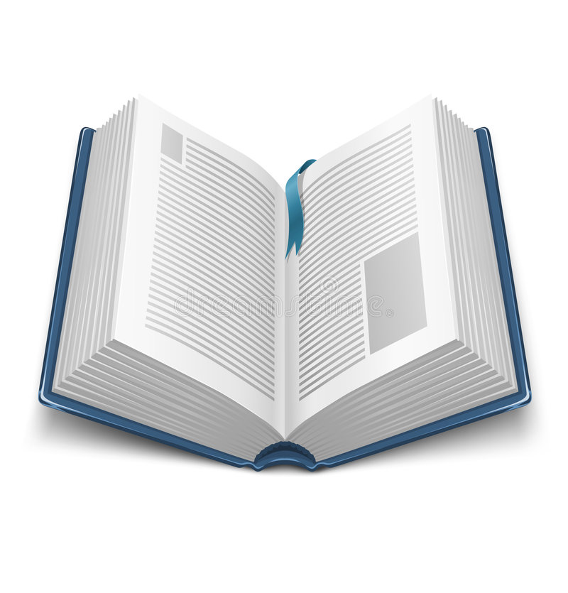蓝皮书被开张的盖子标记 库存例证