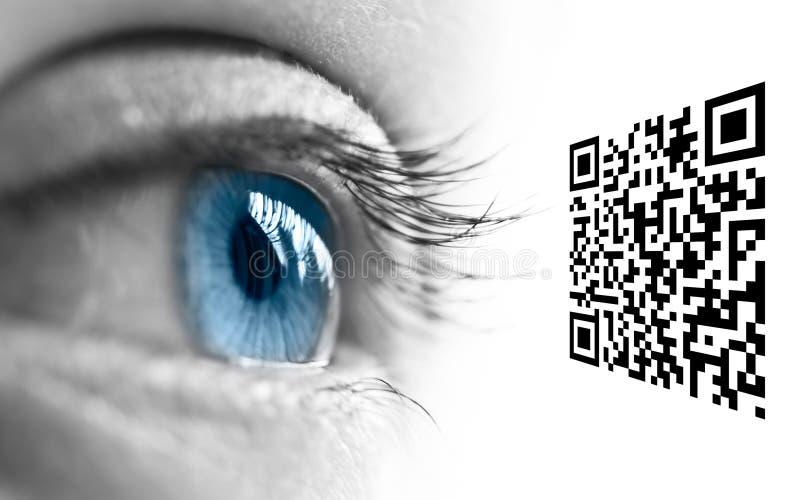 蓝眼睛和QR代码 库存图片