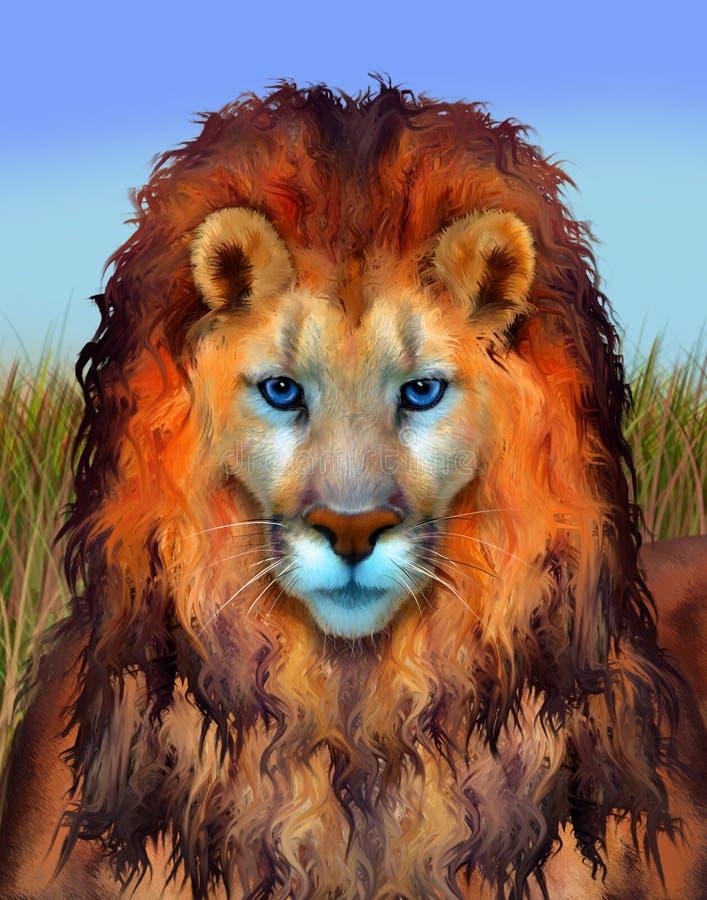 蓝眼睛的狮子例证 免版税图库摄影