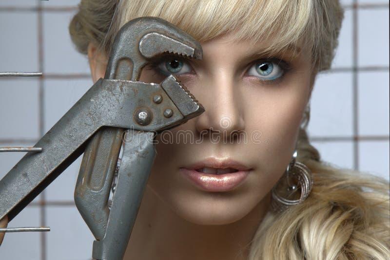 蓝眼睛的白肤金发的性别纵向  库存照片