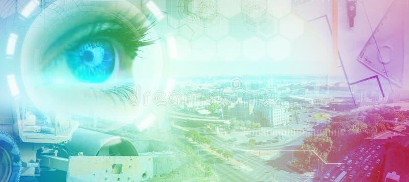 蓝眼睛的综合图象在女性面孔的 免版税库存图片