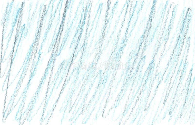 蓝笔划 儿童手绘元素 纸张设计用格朗基元件 免版税库存照片