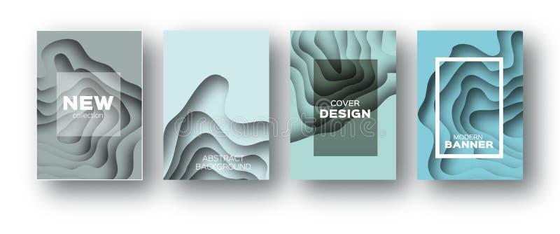 蓝纸裁减波形 企业介绍的,飞行物,海报层状曲线Origami设计 套4垂直 向量例证