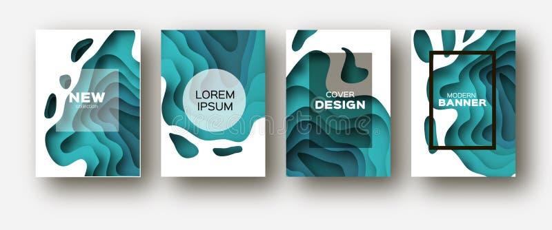 蓝纸裁减波形 企业介绍的,飞行物,海报层状曲线Origami设计 套4垂直 库存例证