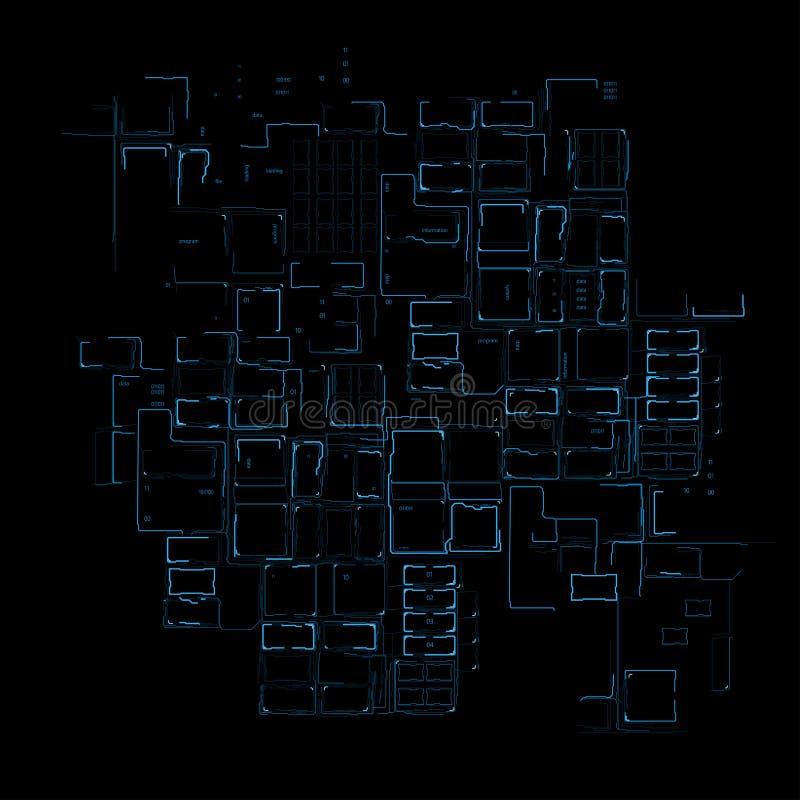 蓝线技术上先进的数字电路  皇族释放例证
