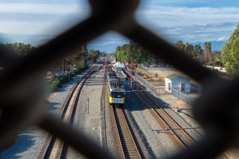 蓝线火车在南洛杉矶 免版税库存图片