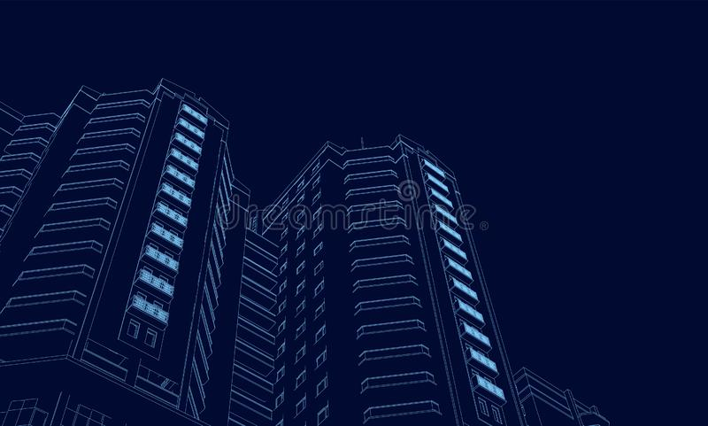 蓝线的大厦的Wireframe在黑暗的背景的 3d 在透视的多角形大厦 ?? 库存例证