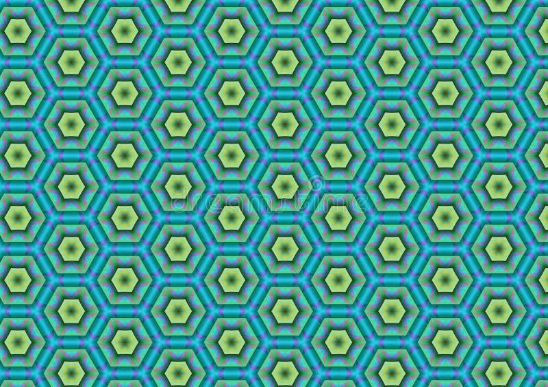 蓝绿色六角形模式 库存图片