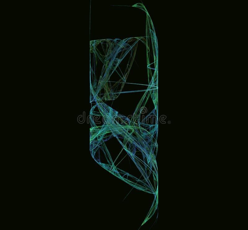 蓝绿色分数维线 幻想分数维纹理 abstact艺术深深数字式红色转动 3d翻译 计算机生成的图象 皇族释放例证