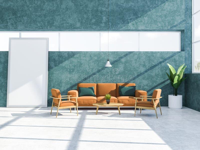 蓝绿色客厅内部、长沙发和海报 向量例证