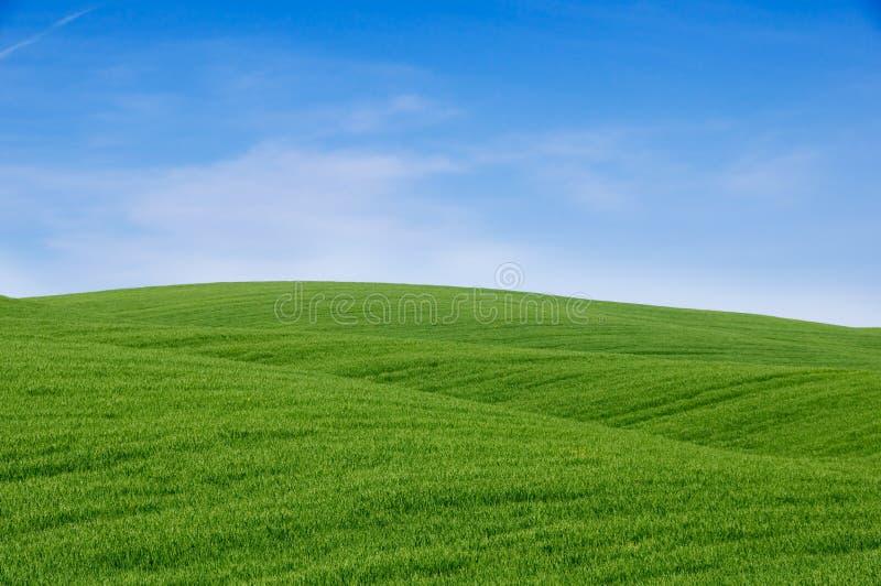 蓝绿色小山天空 库存图片
