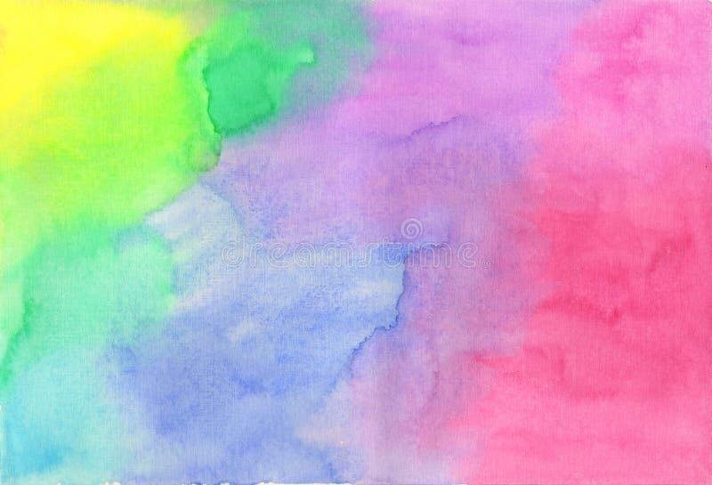 蓝绿色桃红色水彩污点背景 库存图片