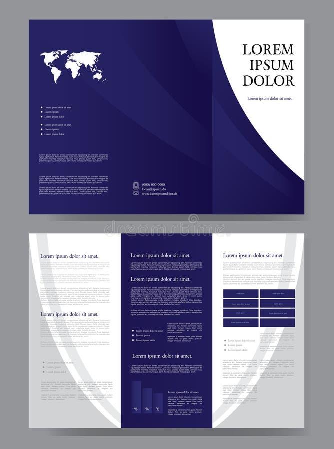 蓝色三倍的小册子设计 皇族释放例证