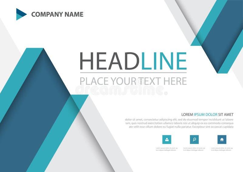 蓝色三角企业小册子飞行物盖子传染媒介设计,给的传单抽象背景,现代海报杂志布局做广告 皇族释放例证