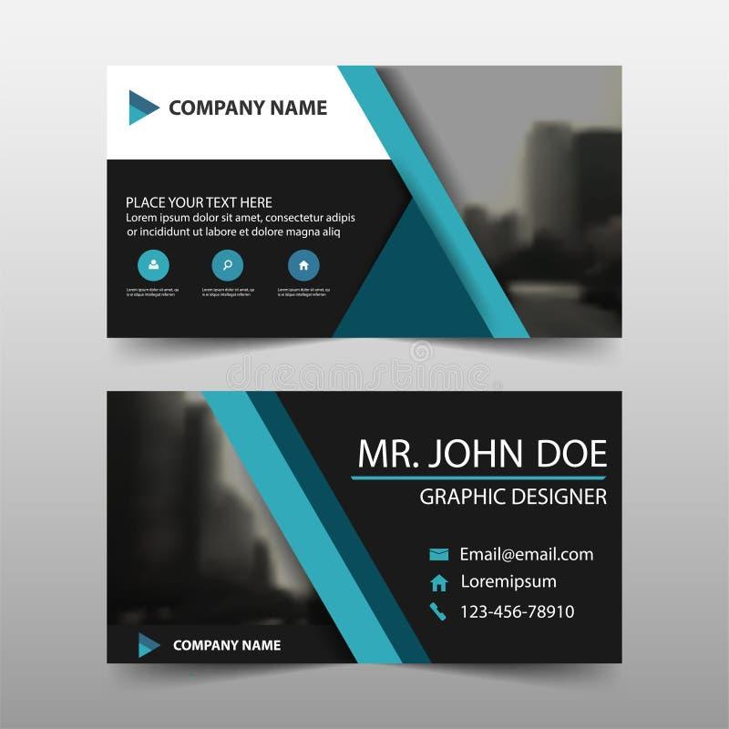 蓝色三角公司业务卡片,名片模板,水平的简单的干净的布局设计模板 向量例证