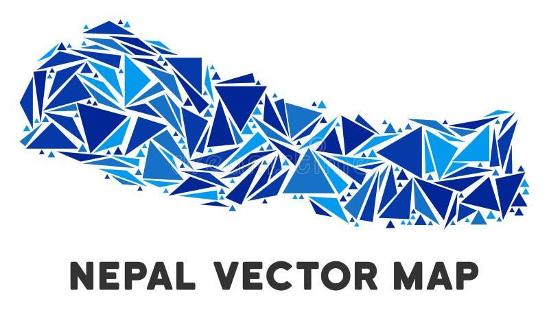 蓝色三角尼泊尔地图 库存例证