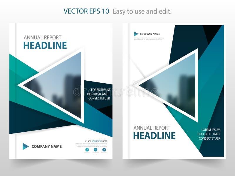 蓝色三角摘要年终报告小册子设计模板传染媒介 企业飞行物infographic杂志海报 抽象格式 库存例证