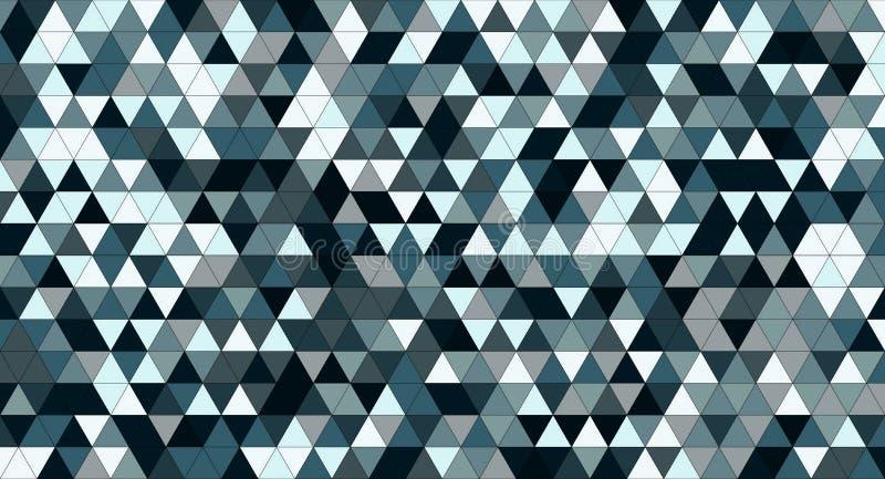 蓝色三角铺磁砖纹理,无缝的样式图表背景 库存例证