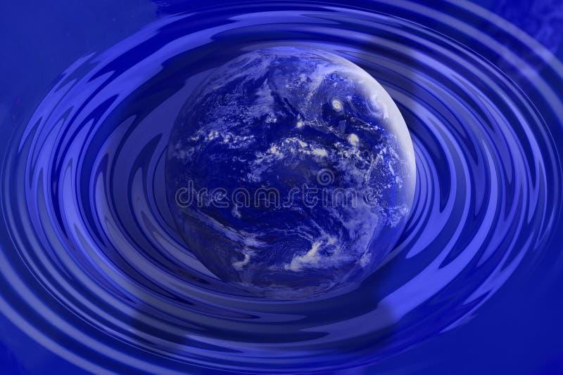 蓝色下来接地波纹接触水 皇族释放例证
